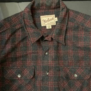 Woolrich Wool Flannel Shirt Red Black Checks 2XL